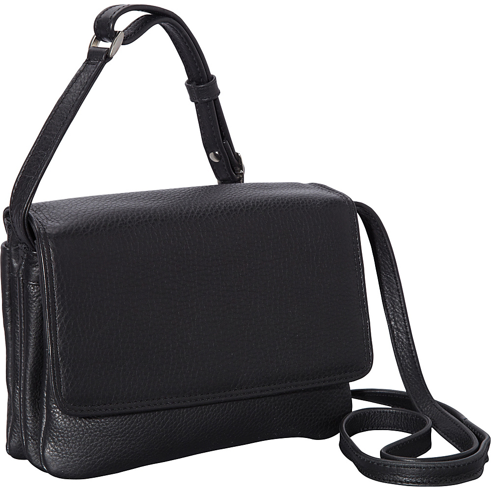 Derek Alexander Small Half Flap Shoulder Bag Black - Derek Alexander Leather Handbags - Handbags, Leather Handbags