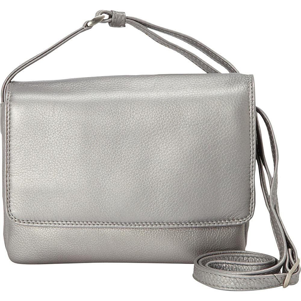 Derek Alexander Small Half Flap Shoulder Bag Silver Derek Alexander Leather Handbags