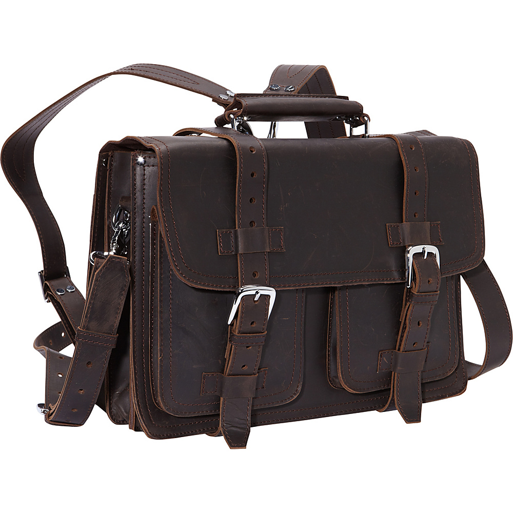Vagabond Traveler 16 CEO Full Leather Briefcase & Backpack Dark Brown - Vagabond Traveler Non-Wheeled Business Cases - Work Bags & Briefcases, Non-Wheeled Business Cases