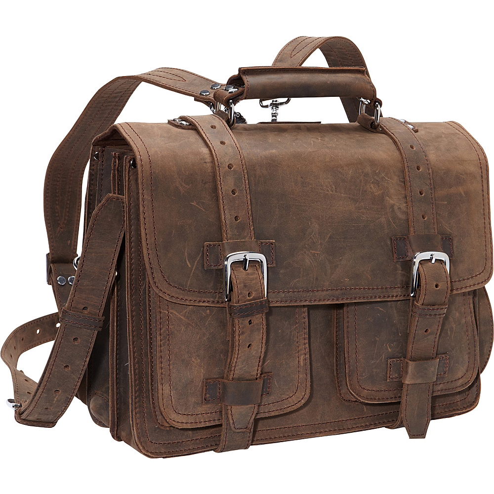 Vagabond Traveler 16 CEO Full Leather Briefcase & Backpack Vintage Brown - Vagabond Traveler Non-Wheeled Business Cases - Work Bags & Briefcases, Non-Wheeled Business Cases