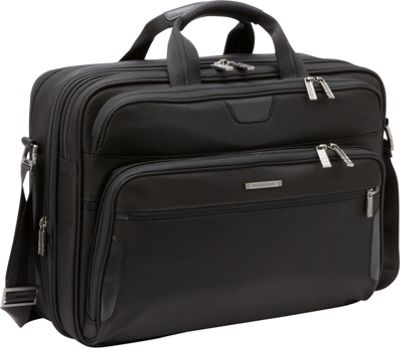 Briggs & Riley Large Expandable Laptop Brief Black - Briggs & Riley Non-Wheeled Business Cases