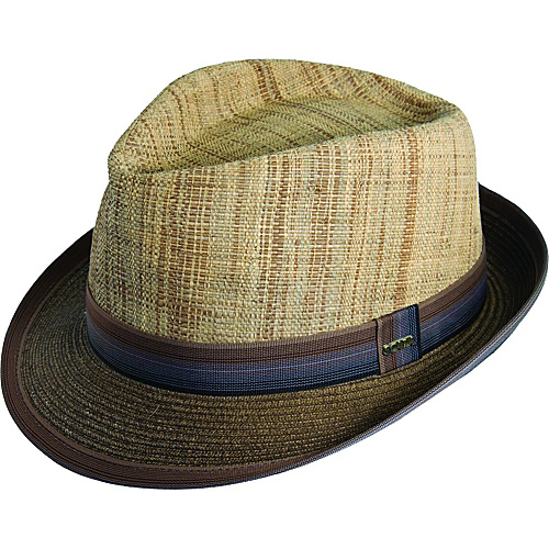 Scala Hats Matte Raffia and Braid Fedora BROWN-LARGE - Scala Hats Hats
