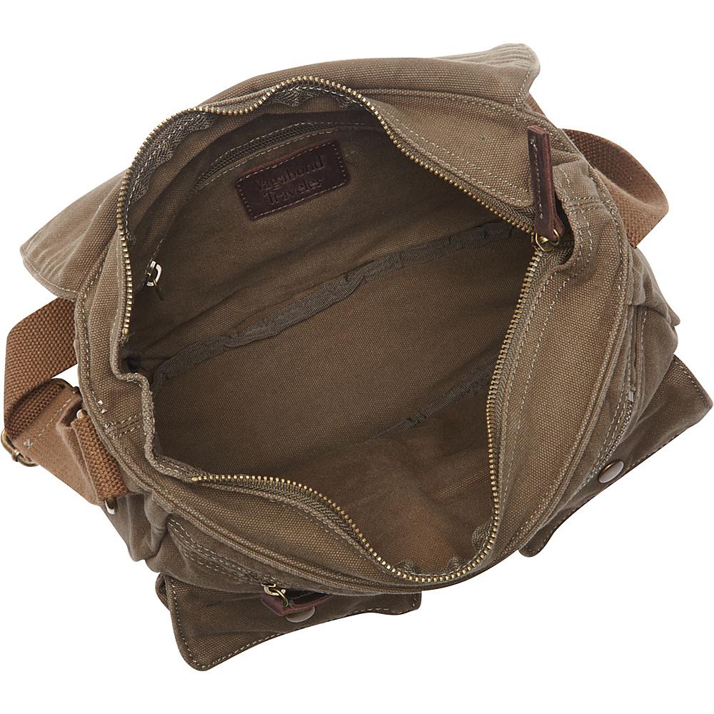 "Vagabond Traveler 12"" Casual Small Canvas Messenger Bag Khaki - Vagabond Traveler Other Men's Bags"