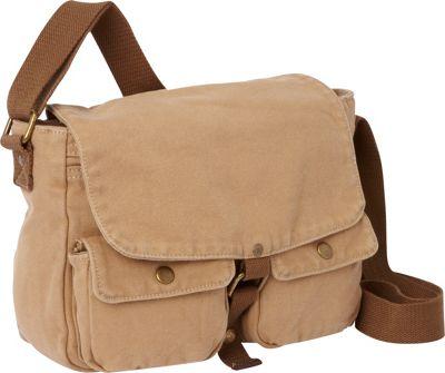 Vagabond Traveler 12 inch Casual Small Canvas Messenger Bag Khaki - Vagabond Traveler Other Men's Bags