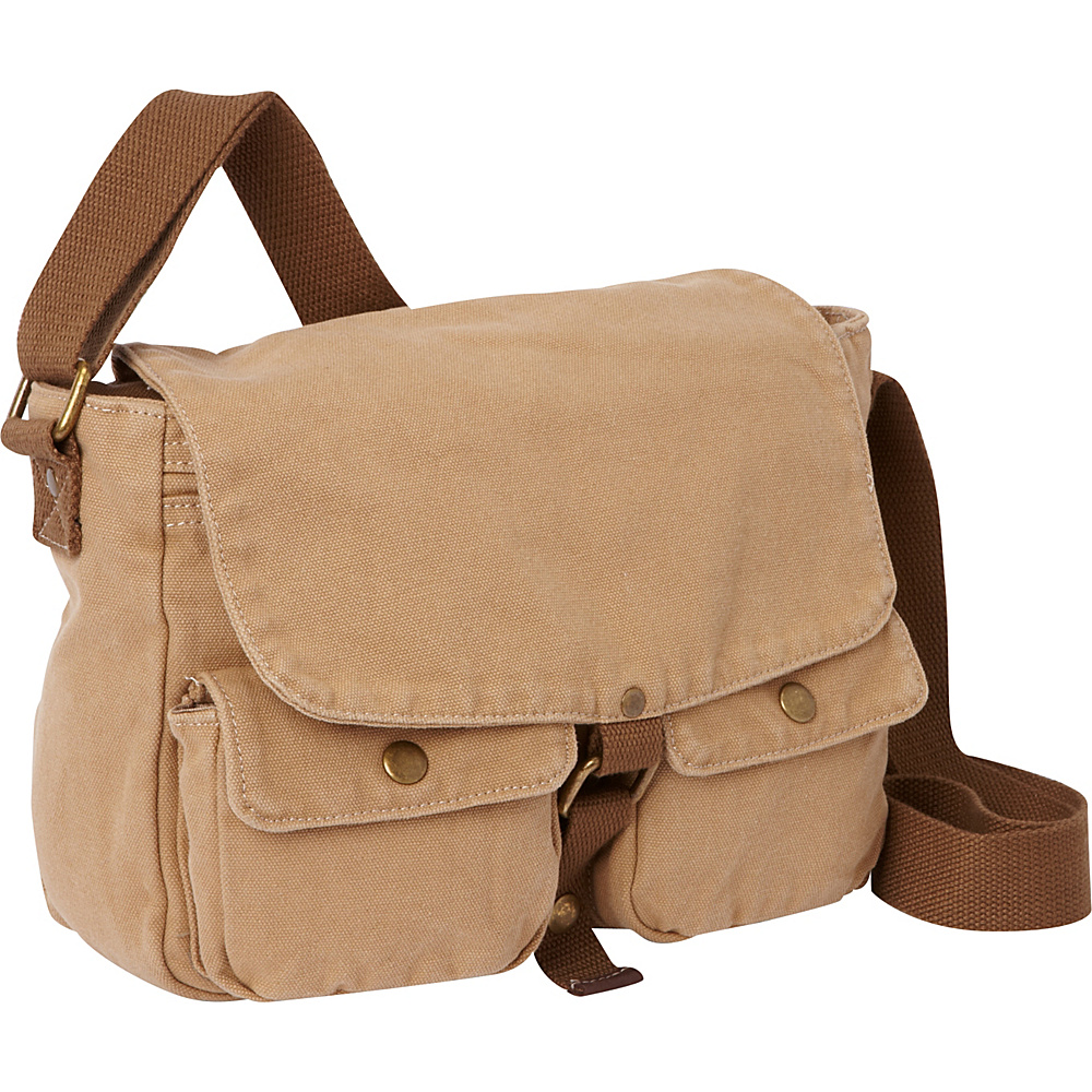 Vagabond Traveler 12 Casual Small Canvas Messenger Bag Khaki - Vagabond Traveler Other Mens Bags - Work Bags & Briefcases, Other Men's Bags