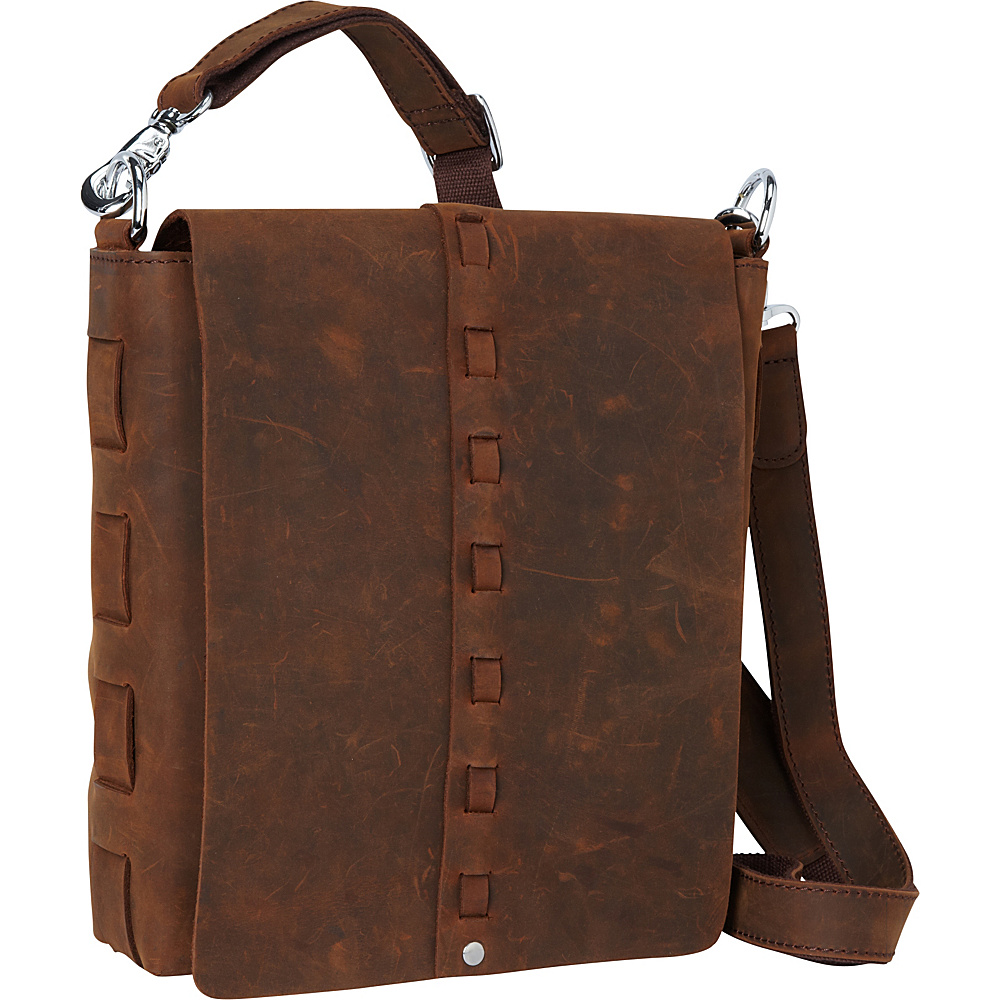 Vagabond Traveler 11.5 Leather Vertical Woven Messenger Vintage Brown - Vagabond Traveler Messenger Bags - Work Bags & Briefcases, Messenger Bags