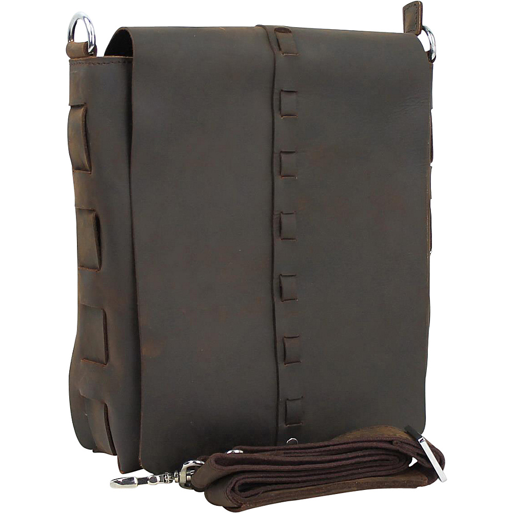 Vagabond Traveler 11.5 Leather Vertical Woven Messenger Dark Brown Vagabond Traveler Messenger Bags
