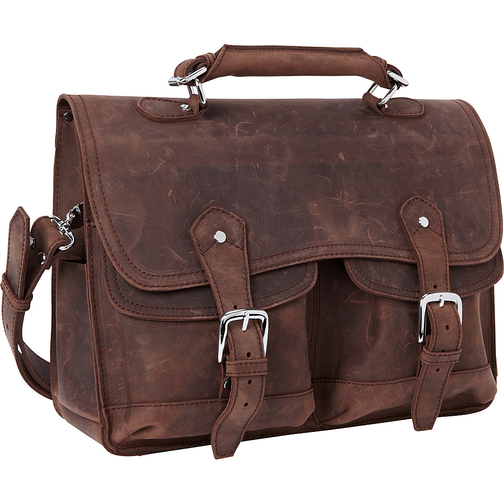 Vagabond Traveler 16.5 Leather Laptop Briefcase Vintage Brown Vagabond Traveler Non Wheeled Business Cases