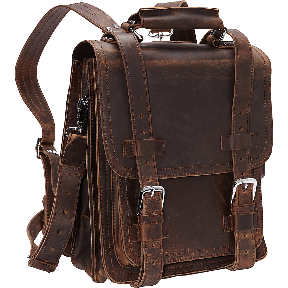 Vagabond Traveler Leather Travel Backpack Brief Vintage Distress - Vagabond Traveler Non-Wheeled Business Cases - Work Bags & Briefcases, Non-Wheeled Business Cases