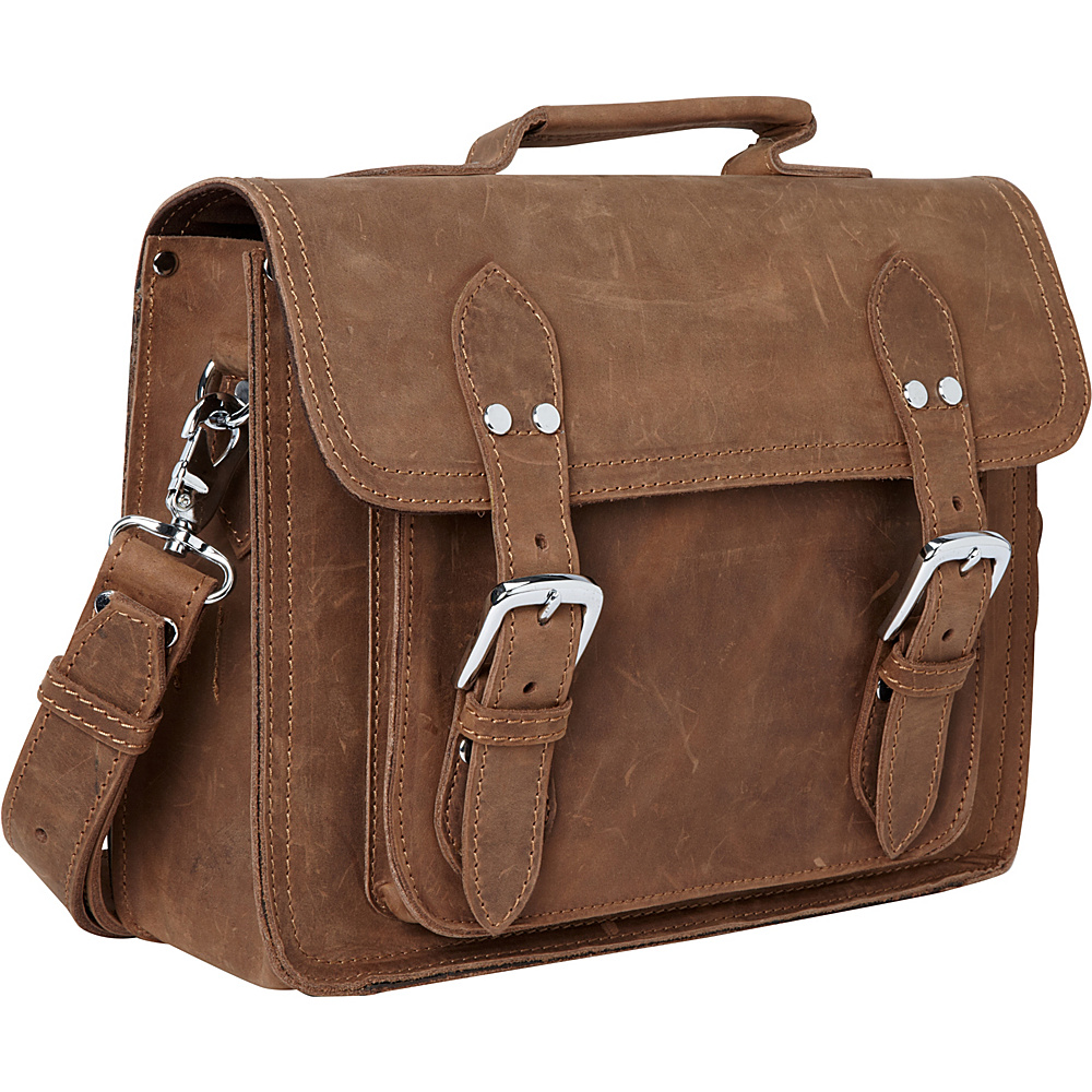 Vagabond Traveler Leather Laptop Messenger Briefcase Vintage Distress - Vagabond Traveler Non-Wheeled Business Cases