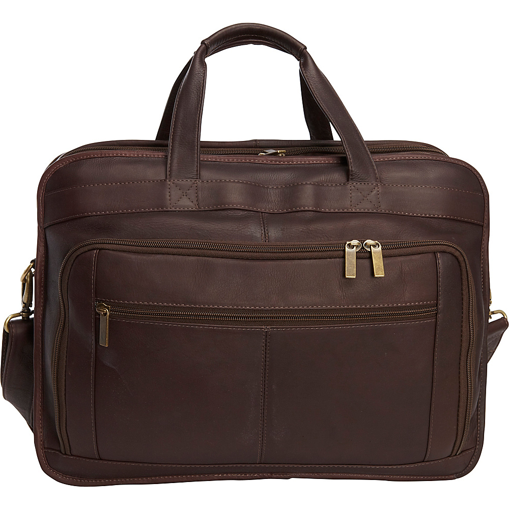 Le Donne Leather Oversized Laptop Brief Cafe - Le Donne Leather Non-Wheeled Business Cases - Work Bags & Briefcases, Non-Wheeled Business Cases