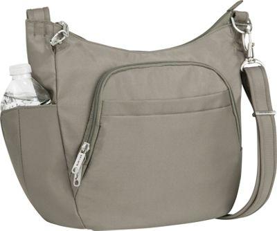 Travelon Anti-Theft Classic Crossbody Bucket Bag - Exclusive Colors Stone - Travelon Fabric Handbags