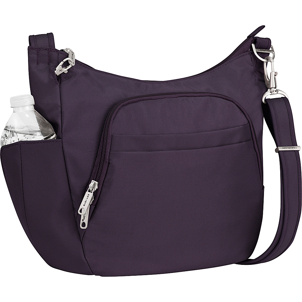 Travelon Anti-Theft Classic Crossbody Bucket Bag - Exclusive Colors Purple - Travelon Fabric Handbags - Handbags, Fabric Handbags