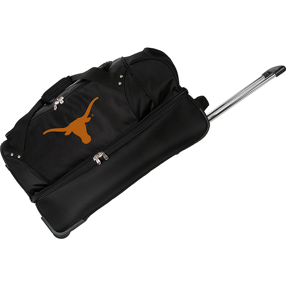 Denco Sports Luggage NCAA University of Texas Longhorns 27 Drop Bottom Wheeled Duffel Bag Black - Denco Sports Luggage Travel Duffels - Luggage, Travel Duffels