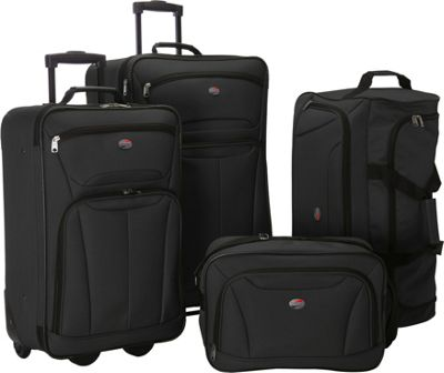 American Tourister Fieldbrook II 4-Piece Nested Luggage Set Black - American Tourister Luggage Sets