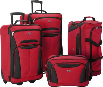 American Tourister Fieldbrook II 4-Piece Nested Luggage Set Red/Black - American Tourister Luggage Sets