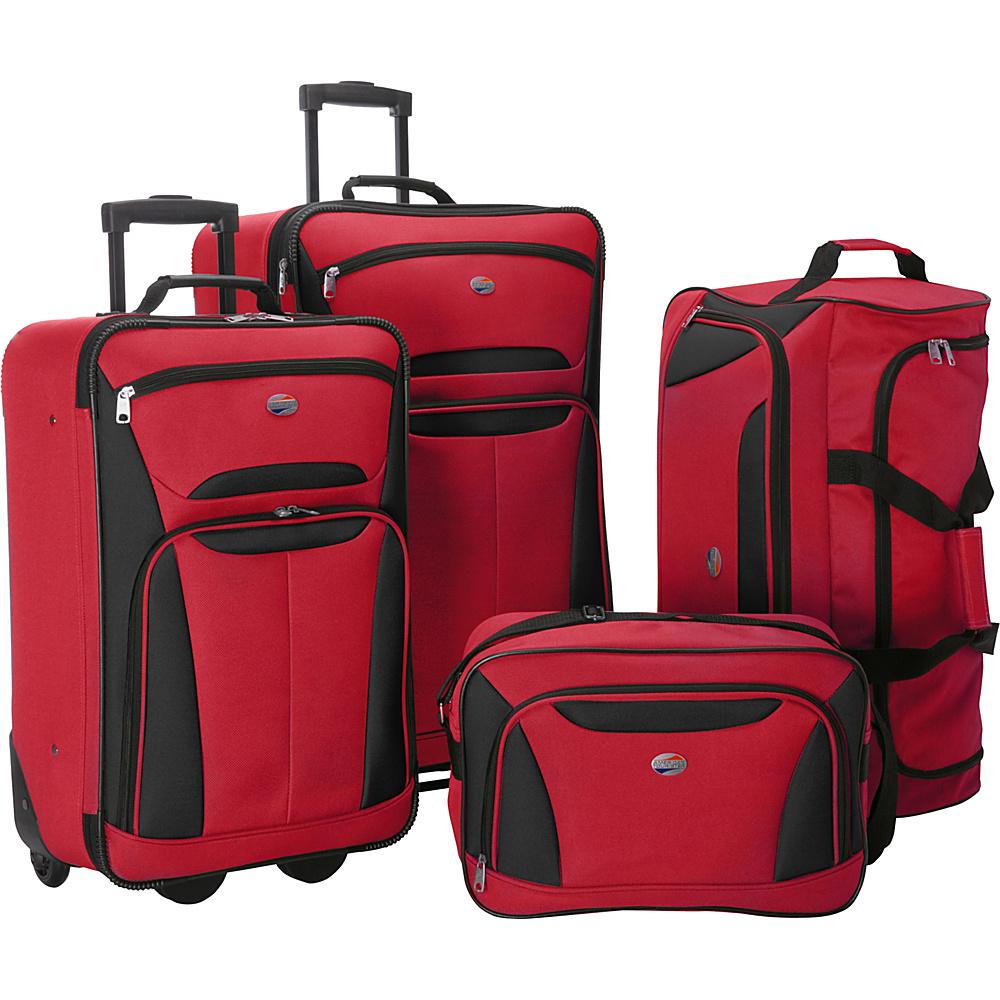 American Tourister Fieldbrook II 4 Pc Nested Luggage Set Red Black American Tourister Luggage Sets
