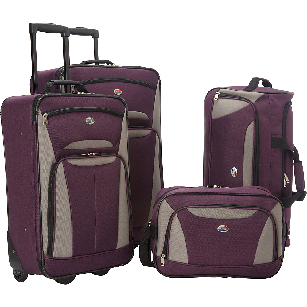American Tourister Fieldbrook II 4-Piece Nested Luggage Set Purple/Grey - American Tourister Luggage Sets