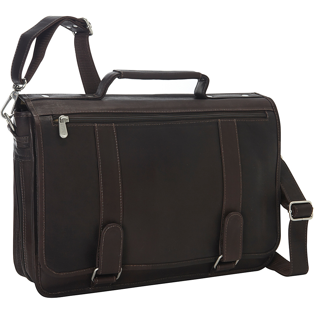 Piel Double Loop Leather Expandable Laptop Briefcase Chocolate - Piel Non-Wheeled Business Cases