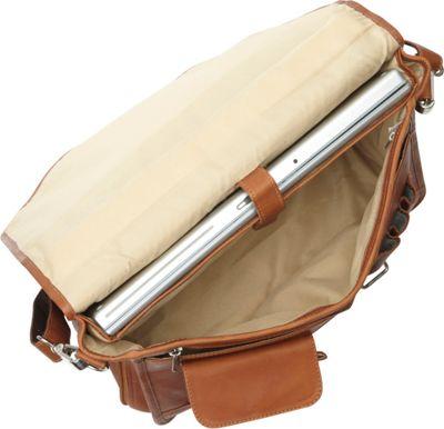 Piel Double Loop Leather Expandable Laptop Briefcase Chocolate - Piel Non-Wheeled Business Cases