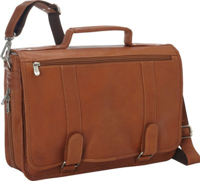 Piel Double Loop Leather Expandable Laptop Briefcase Saddle - Piel Non-Wheeled Business Cases