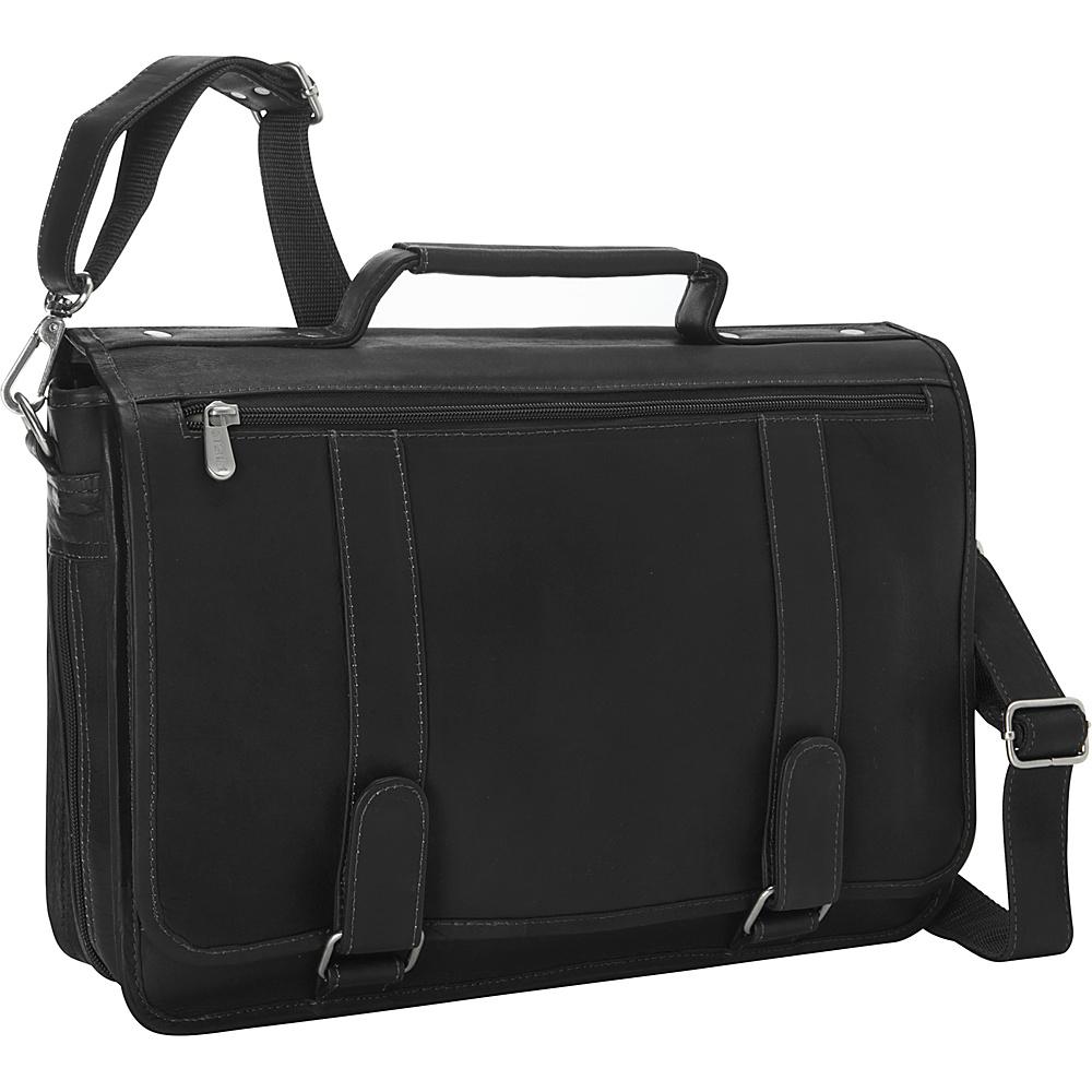 Piel Double Loop Leather Expandable Laptop Briefcase Black - Piel Non-Wheeled Business Cases - Work Bags & Briefcases, Non-Wheeled Business Cases