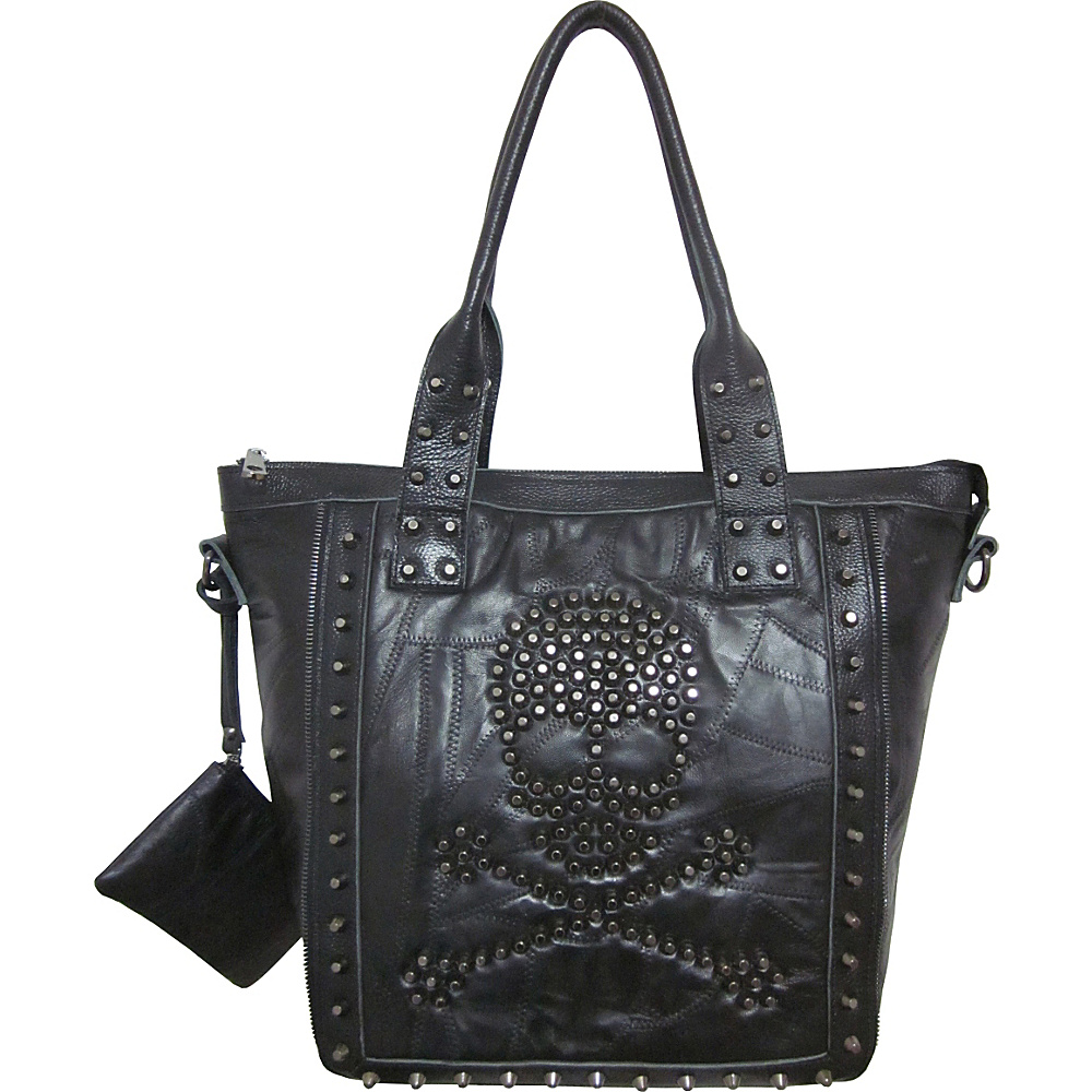 AmeriLeather QMetal Crossbones Black - AmeriLeather Leather Handbags - Handbags, Leather Handbags