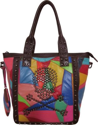 AmeriLeather QMetal Crossbones Rainbow - AmeriLeather Leather Handbags