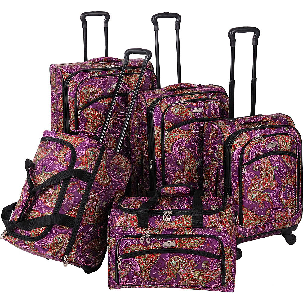 American Flyer Paisely 5-Piece Luggage Set Spinner Purple - American Flyer Luggage Sets