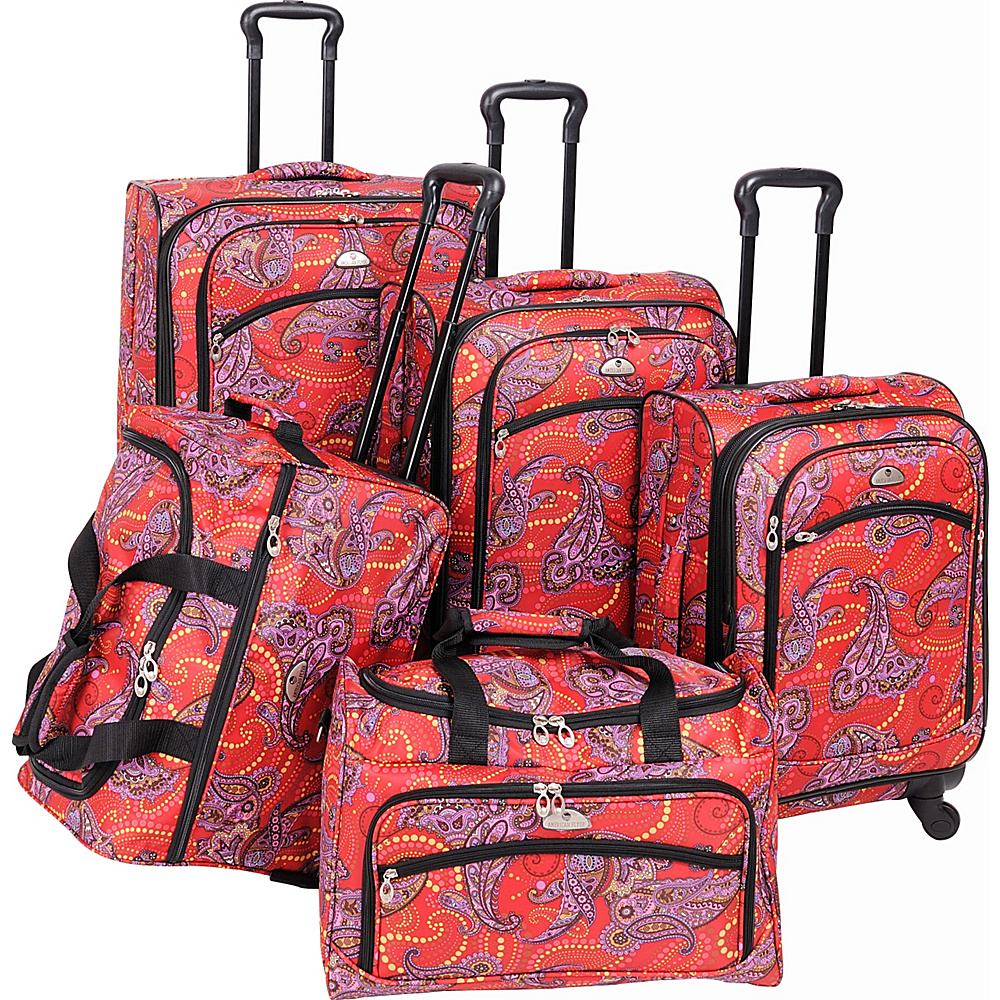 American Flyer Paisely 5-Piece Luggage Set Spinner RED PURPLE - American Flyer Luggage Sets