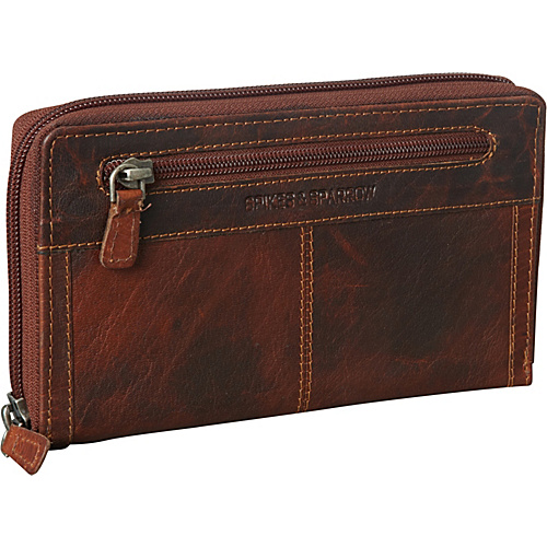Jack Georges Spike & Sparrow Collection Large Zip-Around Clutch Brown - Jack Georges Ladies Clutch Wallets