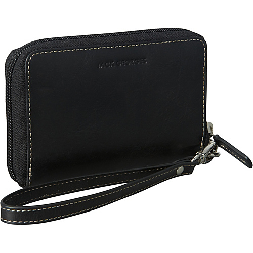 Jack Georges Montana Collection Zip-Around Wristlet Black - Jack Georges Ladies Wallet on a String