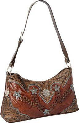 American West Desert Wildflower Zip top Shoulder Bag Antique Brown/Distressed Charcoal Brown/Sky Blue - American West Leather Handbags