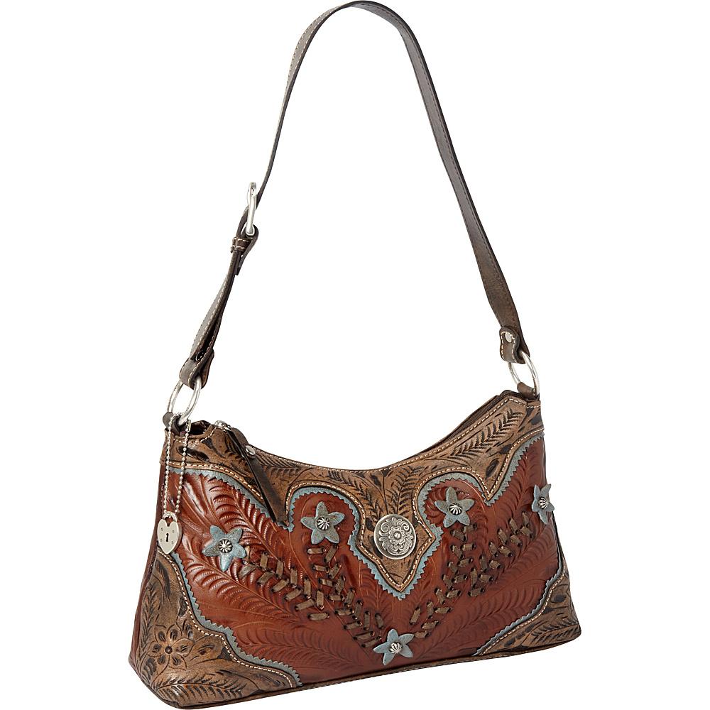 American West Desert Wildflower Zip top Shoulder Bag Antique Brown Distressed Charcoal Brown Sky Blue American West Leather Handbags