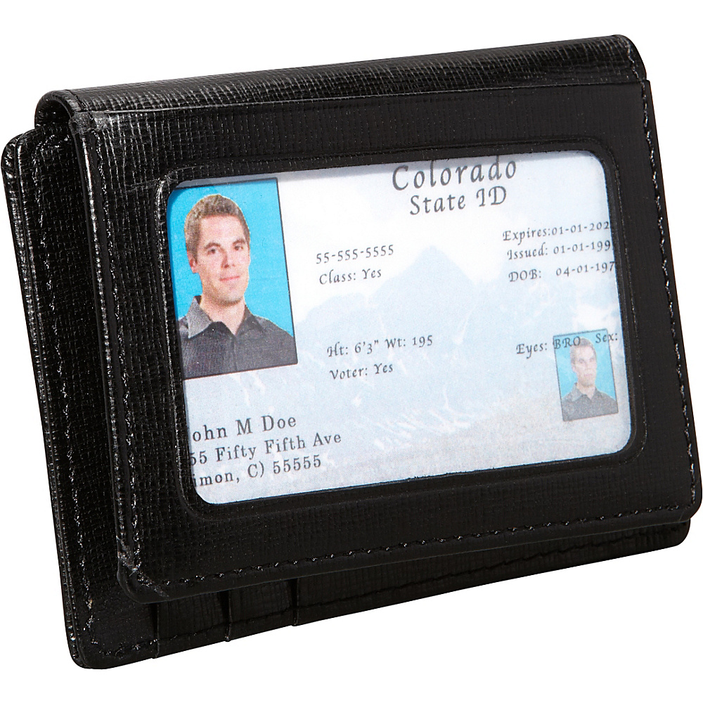Royce Leather Saffiano Cowhide Money Clip ID Wallet Black - Royce Leather Mens Wallets - Work Bags & Briefcases, Men's Wallets