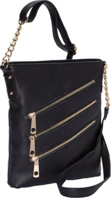R & R Collections 3 Front Zip Crossbody Black - R & R Collections Leather Handbags