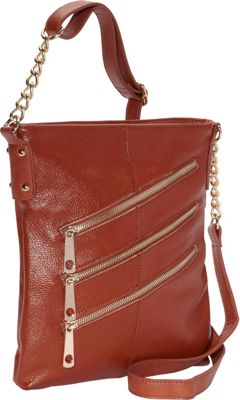 R & R Collections 3 Front Zip Crossbody Brandy - R & R Collections Leather Handbags