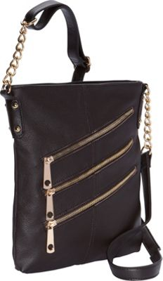 R & R Collections 3 Front Zip Crossbody Dark Brown - R & R Collections Leather Handbags