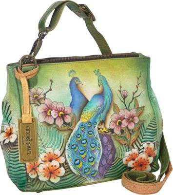 Anuschka Triple Compartment Crossbody Passionate Peacocks - Anuschka Leather Handbags