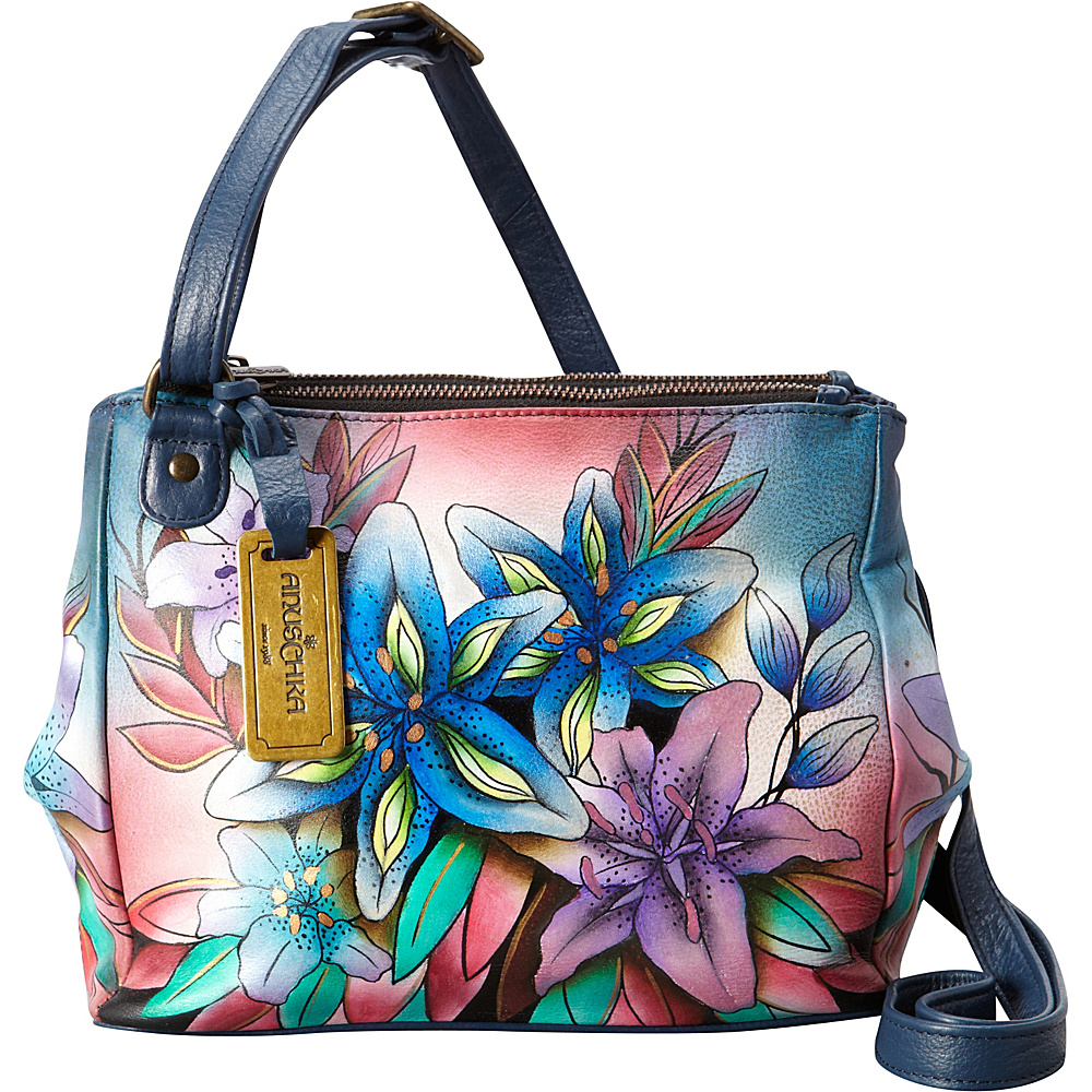Anuschka Triple Compartment Crossbody Luscious Lilies Denim - Anuschka Leather Handbags