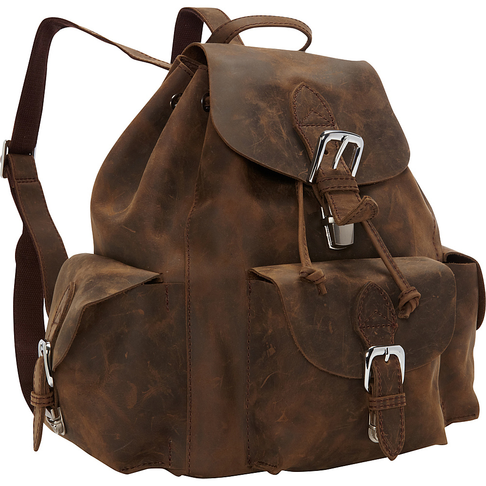 Vagabond Traveler 14 Tall Casual Style Oil Tanned Cowhide Leather Backpack Distress - Vagabond Traveler Everyday Backpacks - Backpacks, Everyday Backpacks
