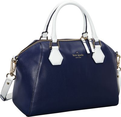 kate spade new york Catherine Street Pippa Convertible Satchel Handbag French Navy/Fresh White - kate spade new york Designer Handbags
