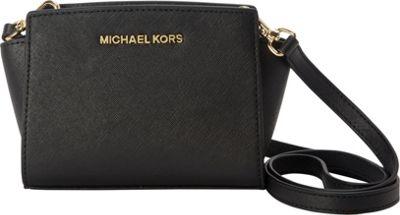 MICHAEL Michael Kors Selma Mini Messenger Crossbody Bag Black - MICHAEL Michael Kors Designer Handbags