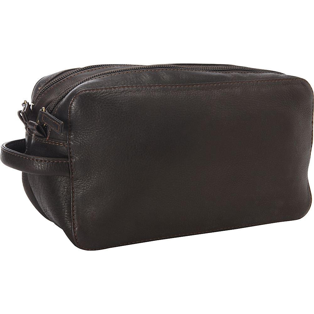 Derek Alexander Two Top Zip Travel Kit Brown - Derek Alexander Toiletry Kits - Travel Accessories, Toiletry Kits