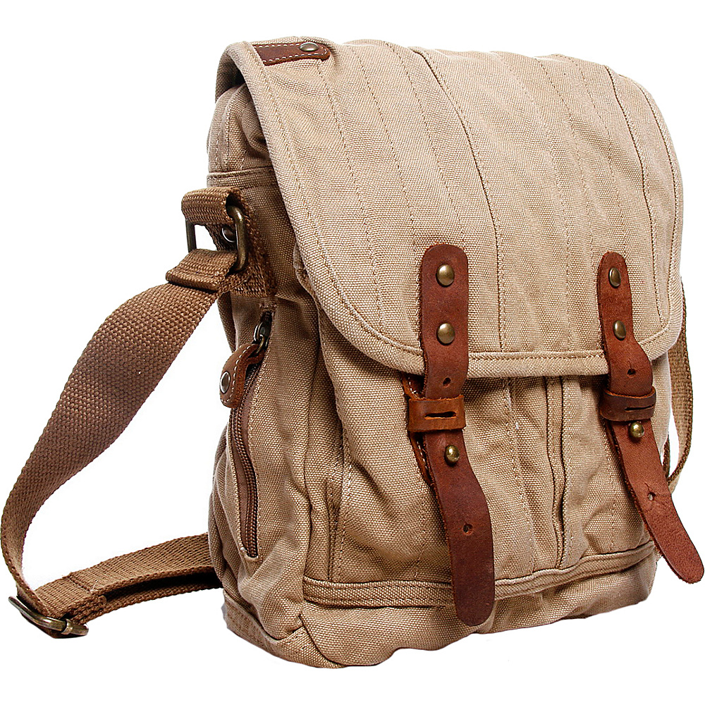 Vagabond Traveler Tall 10 Small Satchel Shoulder Bag Khaki - Vagabond Traveler Slings - Backpacks, Slings