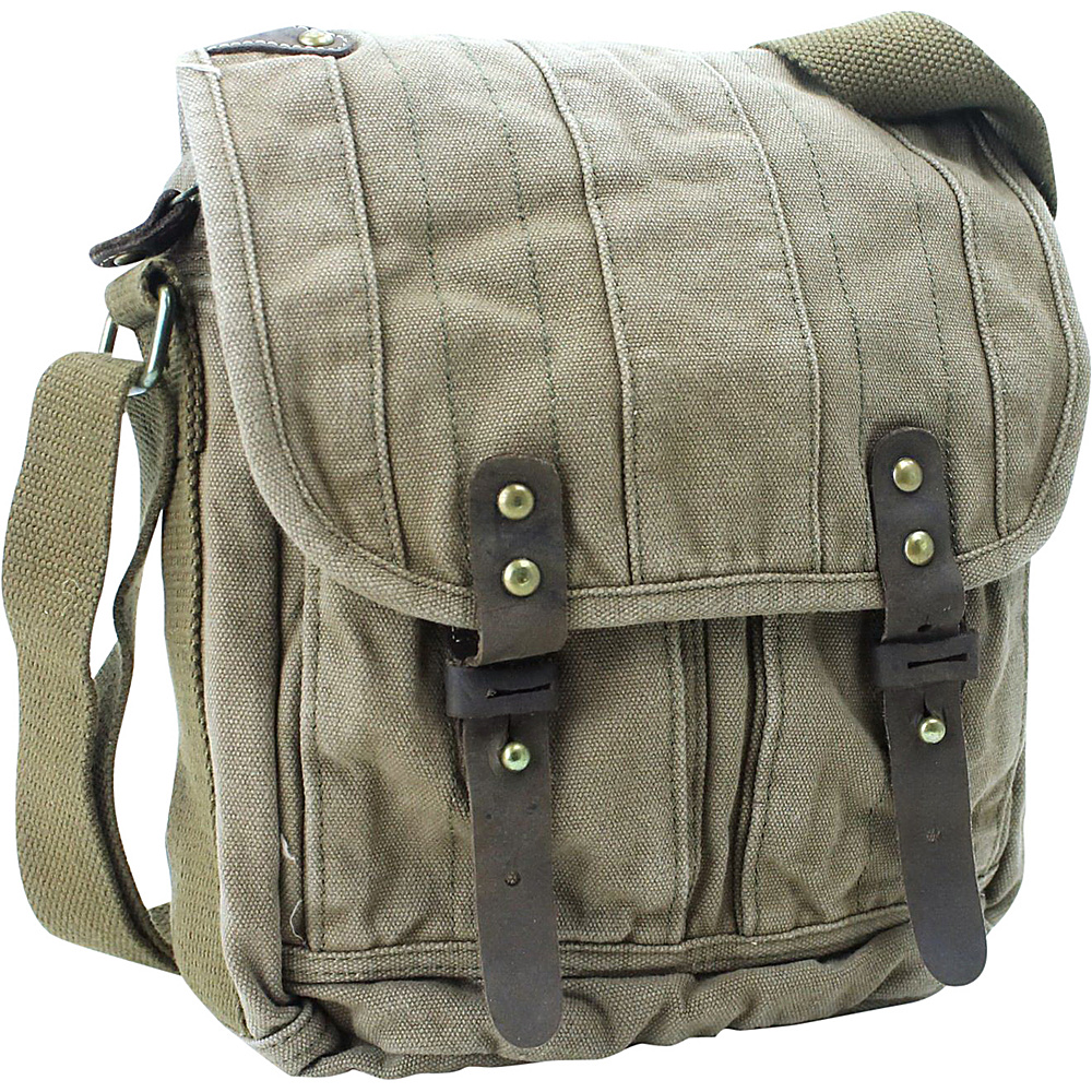 Vagabond Traveler Tall 10 Small Satchel Shoulder Bag Military Green - Vagabond Traveler Slings - Backpacks, Slings
