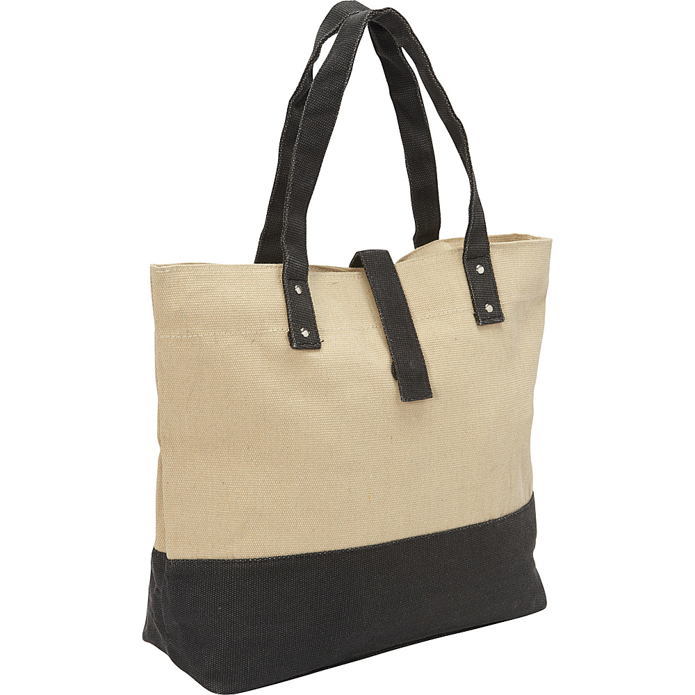 Magid Color Block Canvas Tote Natural/Black - Magid Fabric Handbags
