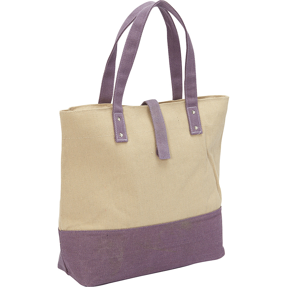 Magid Color Block Canvas Tote Natural/Purple - Magid Fabric Handbags