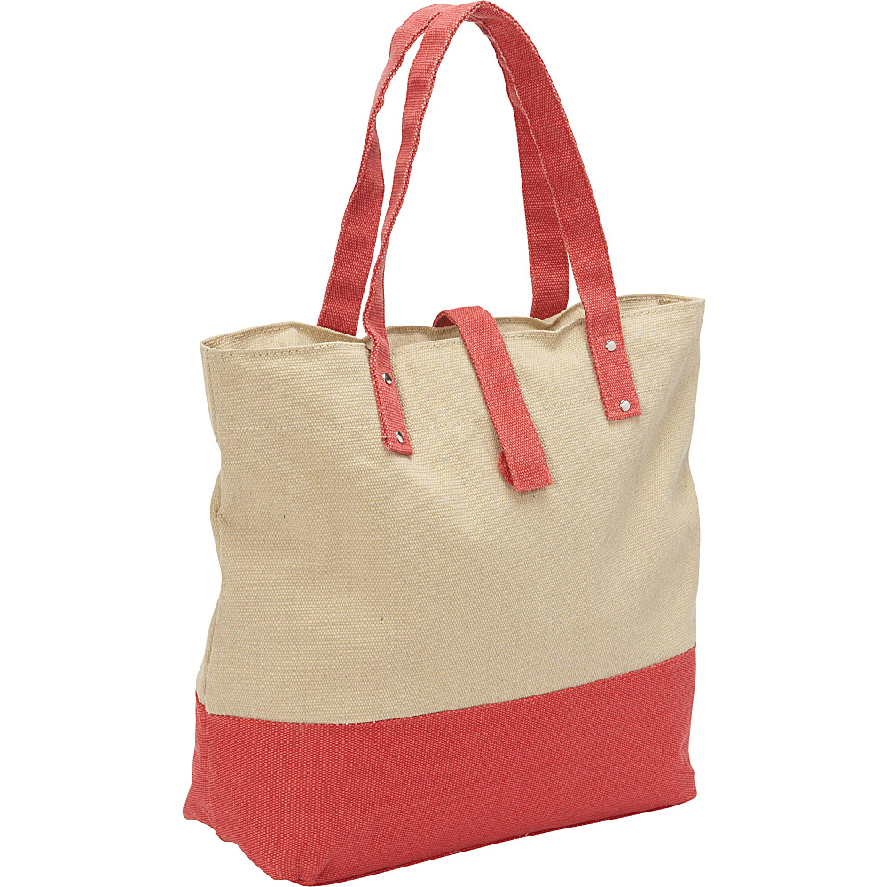 Magid Color Block Canvas Tote Natural/Red - Magid Fabric Handbags