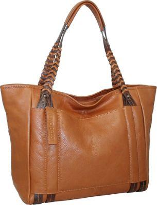 Nino Bossi Tote with Woven Shoulder Strap Cognac - Nino Bossi Leather Handbags